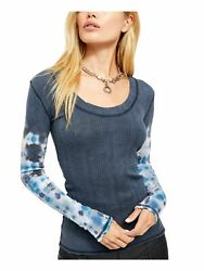 FREE PEOPLE Womens Gray Printed Long Sleeve Scoop Neck Top Size: L $29.99