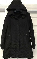 CALVIN KLEIN Quilted Jacket Fitted Long Fall Black Removable Hood Women's Small $19.99