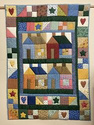 Handmade Quilted Wall Hanging With Rod Pocket. Primitive country Houses Imagery $29.50