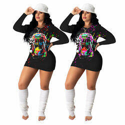 Woman Colorful Printing Polyester Dress Bodycon Long Sleeve Cocktail Wear $16.05