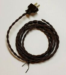 8#x27; Brown Twisted Cloth Covered Wire amp; Plug Vintage Style Lamp Cord rayon 402J $16.98