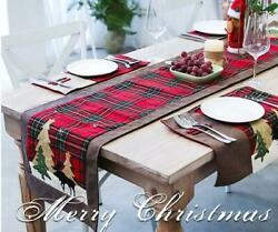Double Layers Buffalo Plaid Christmas Table Runner Party Country Kitchen Décor $9.99