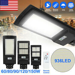 936LED Commercial LED Solar Street Light Remote Pole Motion Sensor Dusk to Dawn