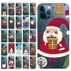 For iPhone 12 Mini 11 Pro Max XS XR Merry Christmas Pattern Case TPU Soft Cover $7.99