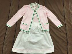 JANIE amp; JACK Girls WHITE dress and pink sweater combination outfit size 5 $49.99
