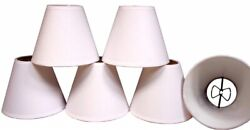 Lot of 6 Cream Color Linen Fabric Lamp Shades for Chandeliers Sconces Clip on $19.95