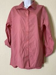 Chicos Womens Size 2 Pink Button Front Blouse 3 4 Sleeve Non Iron $16.00