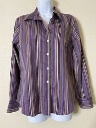 Chicos Womens Size 1 Purple Striped Button Front Blouse $16.00