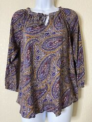 Lucky Brand Womens Size M Paisley Pattern Blouse 3 4 Sleeve $13.00