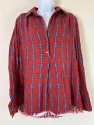 Umgee Womens Size L Red Plaid Button Neck Blouse 3 4 Sleeve $13.00