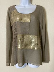 BKE Boutique Womens Size S Brown Sequin Lace Embellished Top Long Sleeve $14.40