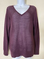 The Limited Womens Size M Purple Mesh Knit Sweater Blouse Long Sleeve $12.00