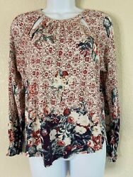 Lucky Brand Womens Size M Floral Pattern Slit Neck Top 3 4 Sleeve $13.00