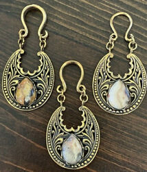 PAIR BRASS EAR WEIGHTS DANGLING CRAZY LACE AGATE STONE PLUGS GAUGES EARRINGS $43.99
