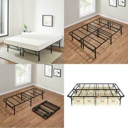 Full Size Platform Bed Foldable Frame Heavy Duty Metal 14 inch Storage Space $80.60