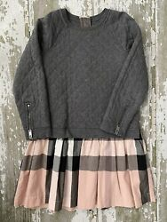 Girls 8Y Burberry Pink And Gray Quilted Sweatshirt Dress $96.00
