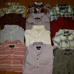 Lot Of 12 Men's Button Up Long Sleeve Short Sleeve Casual REALLY NICE Shirts MED $25.00