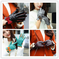 New Ladies Sheepskin Leather with Velvet Thicken Warm Riding Outdoor Cold Gloves $16.49