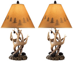Deer Antler Table Lamps 2 Pack Mountain Styles Rustic Hunting Log Cabin L316984 $99.90