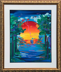 Peter Max Better World II Mixed Media with Acrylic over Lithograph signed low $10500.00