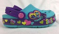 Crocs LIGHT UP Butterfly Clogs Shoes Sandals Sneaker Blue Purple Girl 11 toddler $9.95