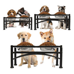 Elevated Raised Dog Pet Feeder Double Bowl Food Water Stand Tray Stainless Steel $28.99