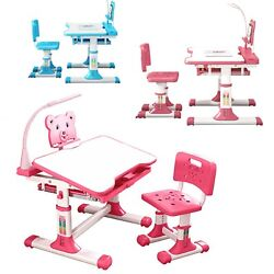 Height Adjustable Desk and Chair Set High School Student Childs Kids Study Table $90.99