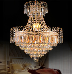 Luxury Crystal Chandelier Home Lighting Ceiling Fixtures Decor Pendant Lamp Gold $204.59