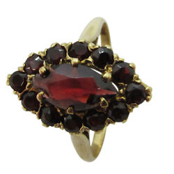 9ct Yellow Gold Cocktail Red Marquise amp; Round CZ Cluster Fancy Ladies Ring GBP 101.00
