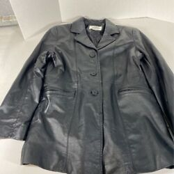 Studio C Womens Leather Jacket Black Buttons Pockets Collared Quilt Lined M $23.02