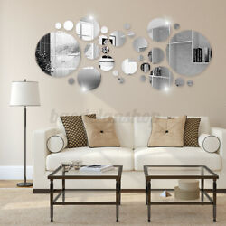 US Removable Silver Acrylic 3D Mirror Wall Stickers DIY Mural Decal Home Decor $7.82