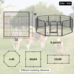 Dog Fence Heavy Duty 8 Panels 32 Inches Exercise Pen Dog Crate Cage Kennel $167.99