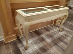 Console Sofa Table Glass Wood Lions Paw $165.00