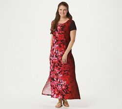Bob Mackie Ombre Floral Knit Maxi Petite Dress RED SIZE PLARGE NWT #A349817 $17.00