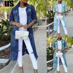 Womens Ripped Long Jean Coat Trench Jacket Casual Full Length Denim Outerwear US $49.49