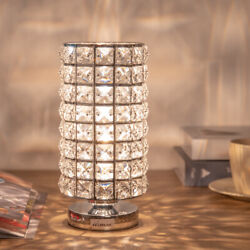 Modern Crystal Table Lamp Beside Nightstand Bedroom Reading Night Light for Gift $22.94