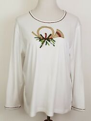 Womens Christmas T Shirt Top Size L White French Horn Long Sleeve Pullover $14.95