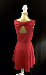 Kate Spade Red Mini Dress With Bow Back SZ 8 $268 $26.00