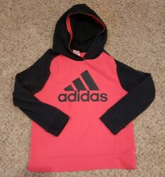 Adidas Boy#x27;s Size M 10 12 Hoodie Hooded Sweatshirt Red Black Logo Pocket $14.00
