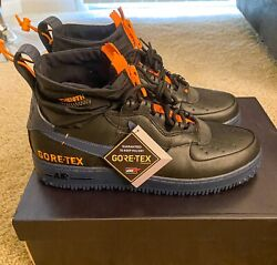 Nike Air Force 1 WTR Winter GTX Goretex Size 12 Mens Black Thunder Blue Shoes $220.00