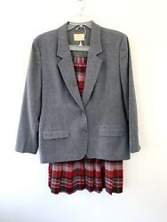 Pendelton Pleated Skirt and Blazer Virgin Wool Tartan Plaid Red Gray Size 18 $56.86
