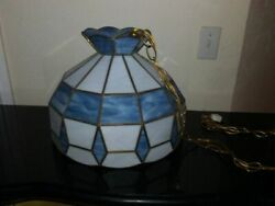 Vintage Tiffany Hanging Ceiling Stained Glass Pendant Chandelier Blue And White $199.99