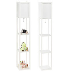 Set of 2 Floor Lamps Standing Light Storage Shelves with LED Bulbs for Bedroom $68.39