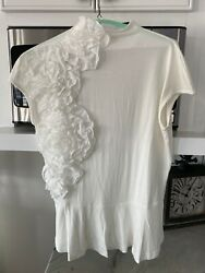 NWOT Stein Mart Peplum and Ruffle Cream Colored Blouse ADORABLE $29.99