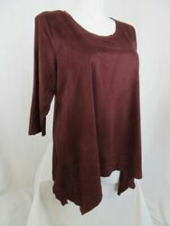 LOGO by Lori Goldstein Size 2X Deep Cabernet Faux Suede top with Sharkbite Hem $19.99