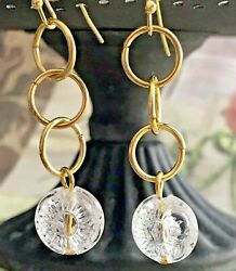 Stunning Gold and Etched Flower Bead Dangle Earrings. Bloom. Boho Chic $6.99