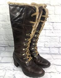 Born Brown Women Leather Shearling Lined Boots Hand Sewn Lace Zip Heel Size 8.5 $67.97