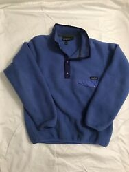 Patagonia Blue Purple Lavender Pullover Snap T Fleece Vintage Womens Medium $50.00