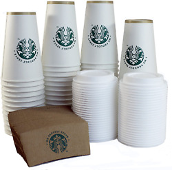 Starbucks Disposable Cups Hot Coffee Party Sleeves Lid Set Vending Tumbler 50 ct $33.83