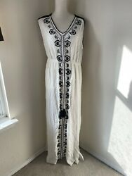Knox Rose Women's Size XXL 2XL Ivory Black Boho Long Maxi Dress Embroidered $23.00